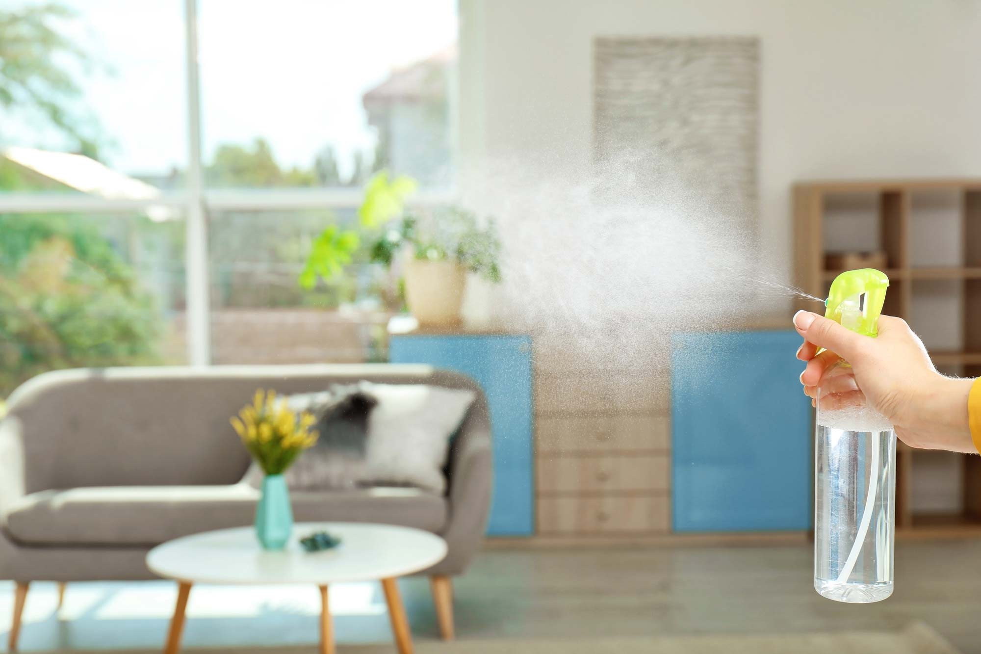 spray air freshener in a room