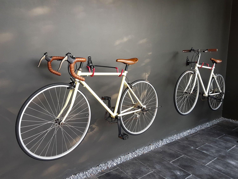 bikes hung on wall